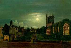 Henry Lark I Pratt - St Peter's Church, Derby, by Moonlight