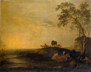 Peter Francis Bourgeois - Landscape with Cattle (Cows on a Hillock by a Stream)