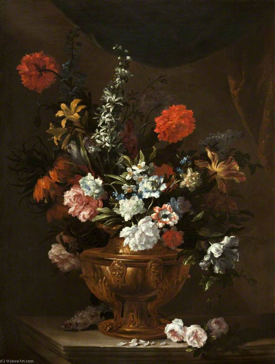Order Museum Quality Reproductions : Flowers in a Sculptured Vase, 1699 by Jean Baptiste Monnoyer (1636-1699, France) | WahooArt.com