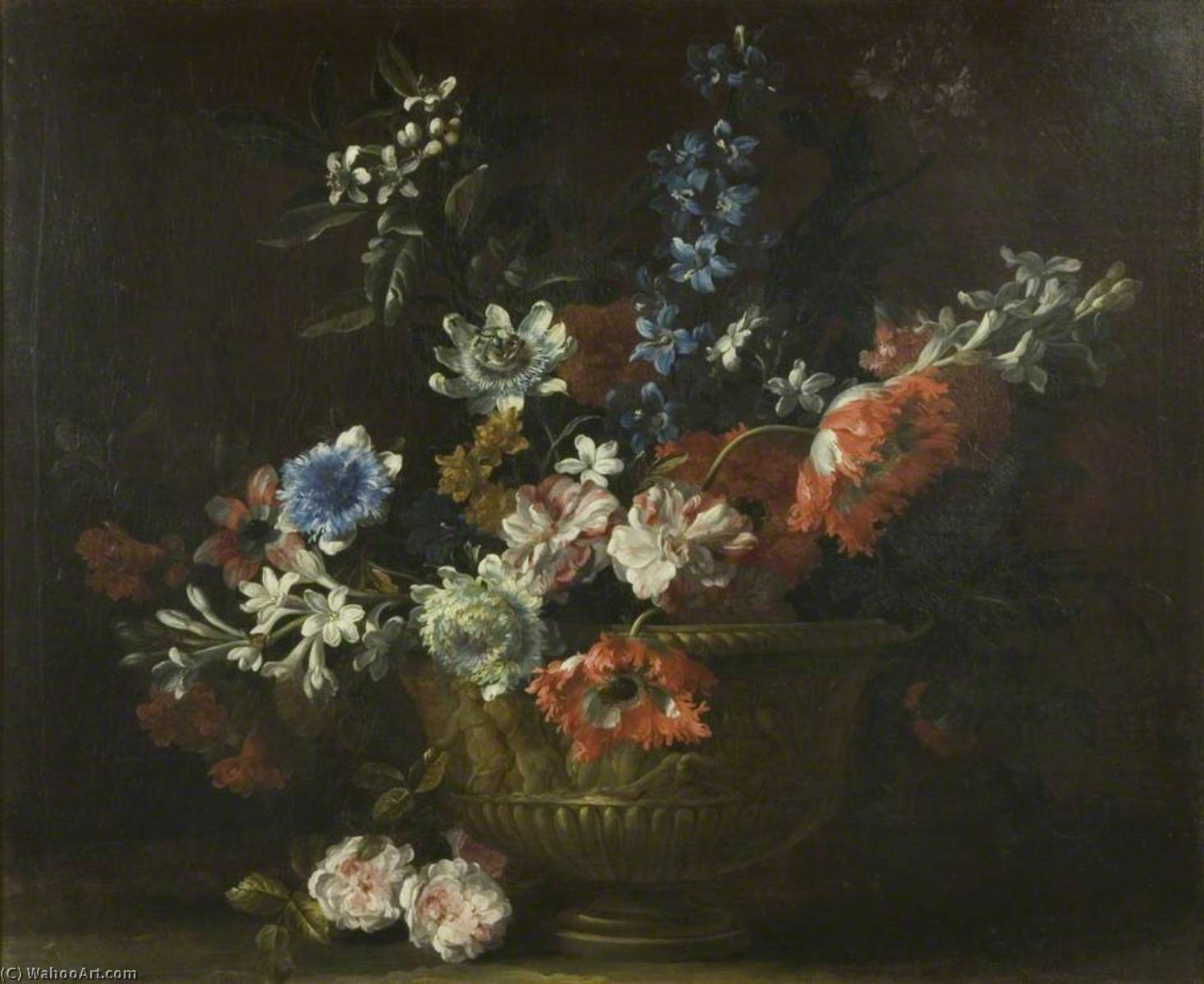 Flower Piece, 1690 by Jean Baptiste Monnoyer (1636-1699, France) | Painting Copy | WahooArt.com