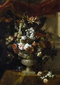 Jean Baptiste Monnoyer - An Urn with Flowers