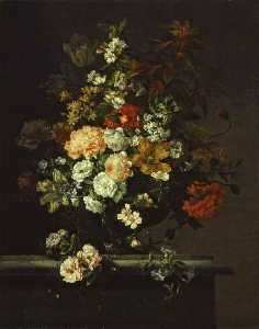 Jean Baptiste Monnoyer - Still Life of Mixed Flowers in a Vase on a Ledge