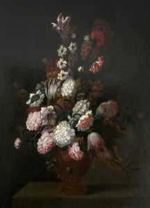 Jean Baptiste Monnoyer - An Earthernware Vase of Flowers