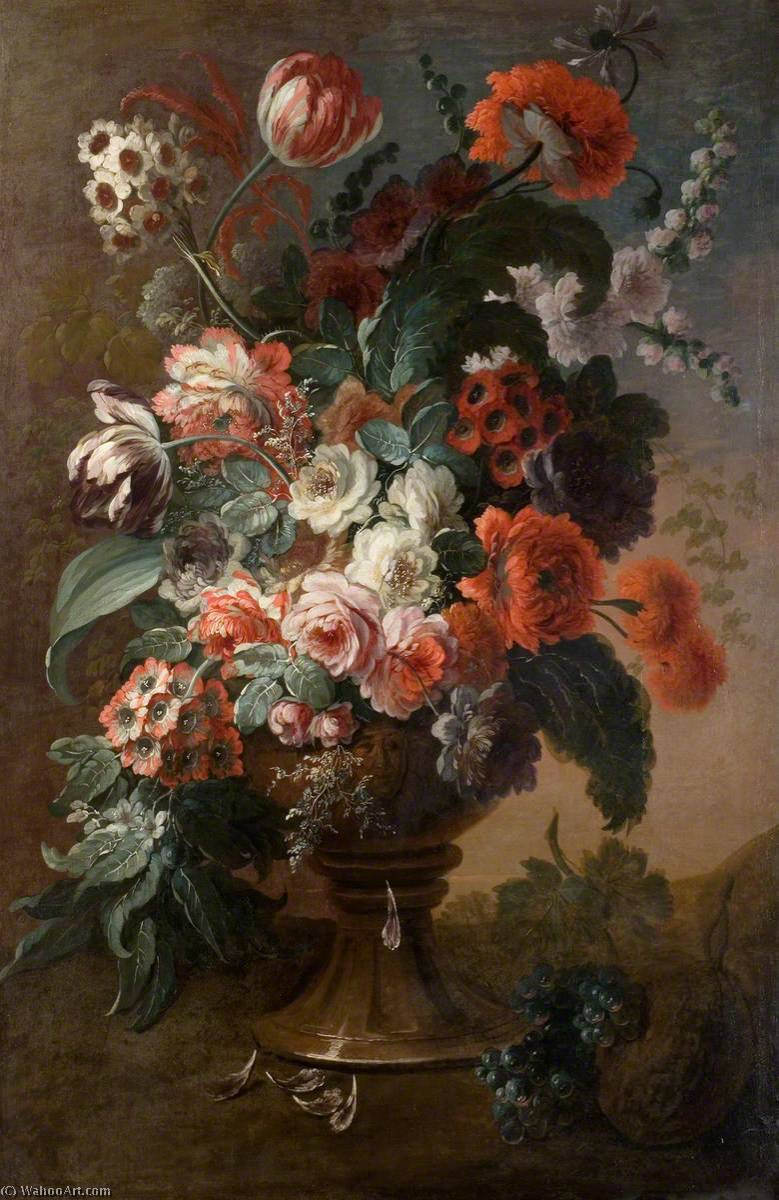 Still Life of Flowers by Jean Baptiste Monnoyer (1636-1699, France) | Famous Paintings Reproductions | WahooArt.com