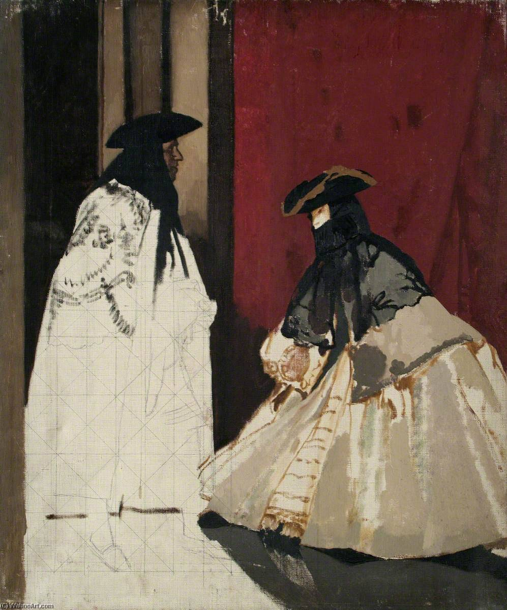 Masked Figures, Oil On Canvas by William Newenham Montague Orpen (1878-1931, Ireland)