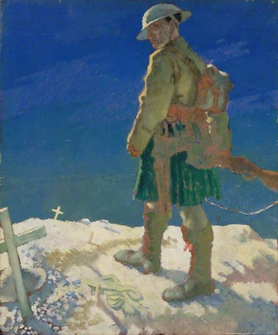 A Highlander Passing a Grave, Oil On Panel by William Newenham Montague Orpen (1878-1931, Ireland)