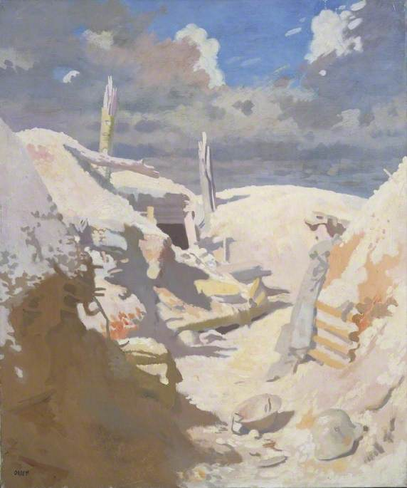 A Gunner's Shelter in a Trench, Thiepval, Oil On Canvas by William Newenham Montague Orpen (1878-1931, Ireland)