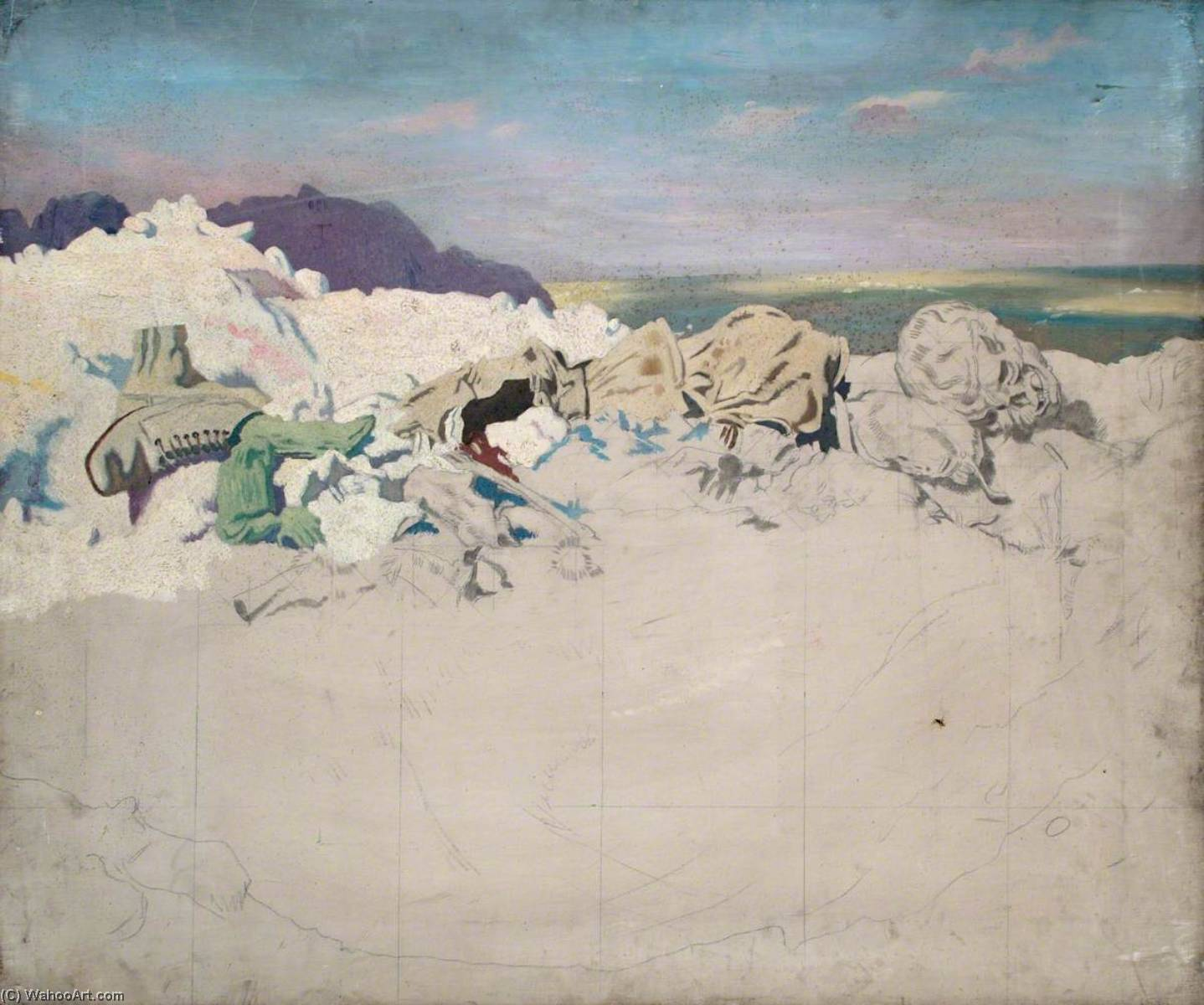 Beaumont Hamel, 1920 by William Newenham Montague Orpen (1878-1931, Ireland) | Famous Paintings Reproductions | WahooArt.com