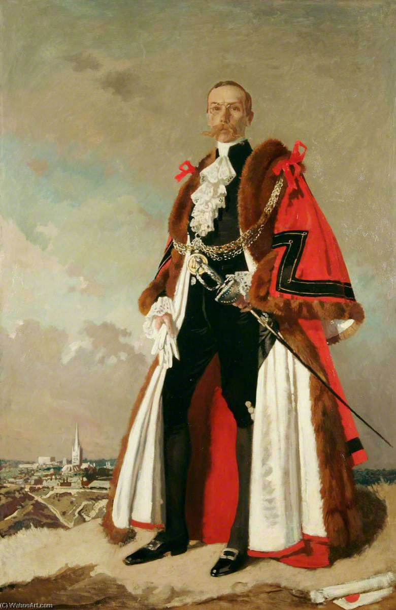 Ernest Egbert Blyth (1857–1934), Last Mayor First Lord Mayor of Norwich (1910), Oil On Canvas by William Newenham Montague Orpen (1878-1931, Ireland)