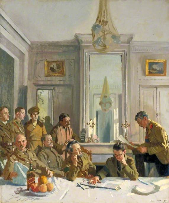 Some Members of the Allied Press Camp with Their Press Officers, Oil On Canvas by William Newenham Montague Orpen (1878-1931, Ireland)