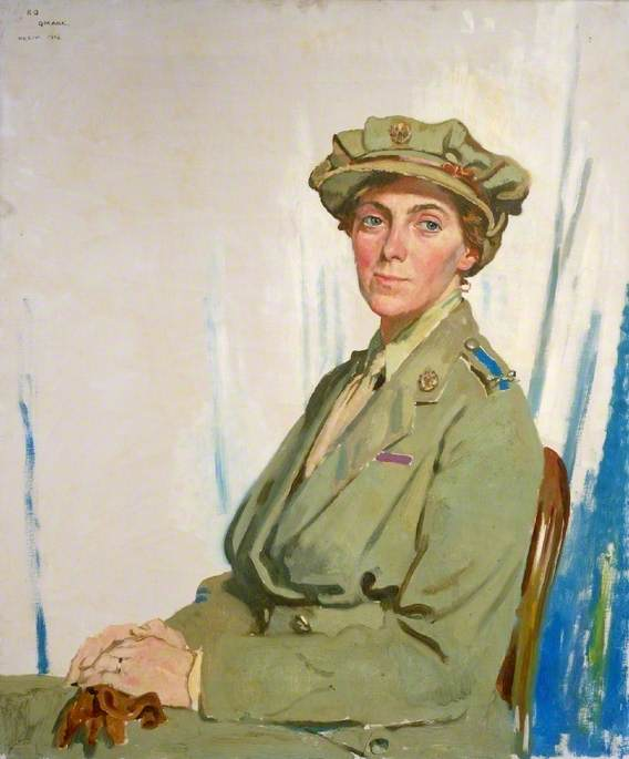The First Chief Controller, Queen Mary's Army Auxiliary Corps in France, Dame Helen Gwynne Vaughan (1879–1967), CBE, DSC, Oil On Canvas by William Newenham Montague Orpen (1878-1931, Ireland)