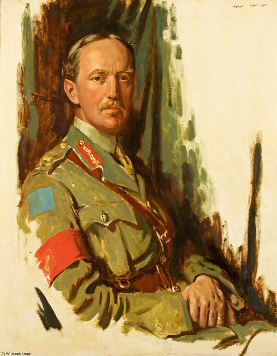 Colonel (Temporary Major General) Louis James Lipsett (1874–1918), CB CMG, 1918 by William Newenham Montague Orpen (1878-1931, Ireland) | Museum Quality Reproductions | WahooArt.com