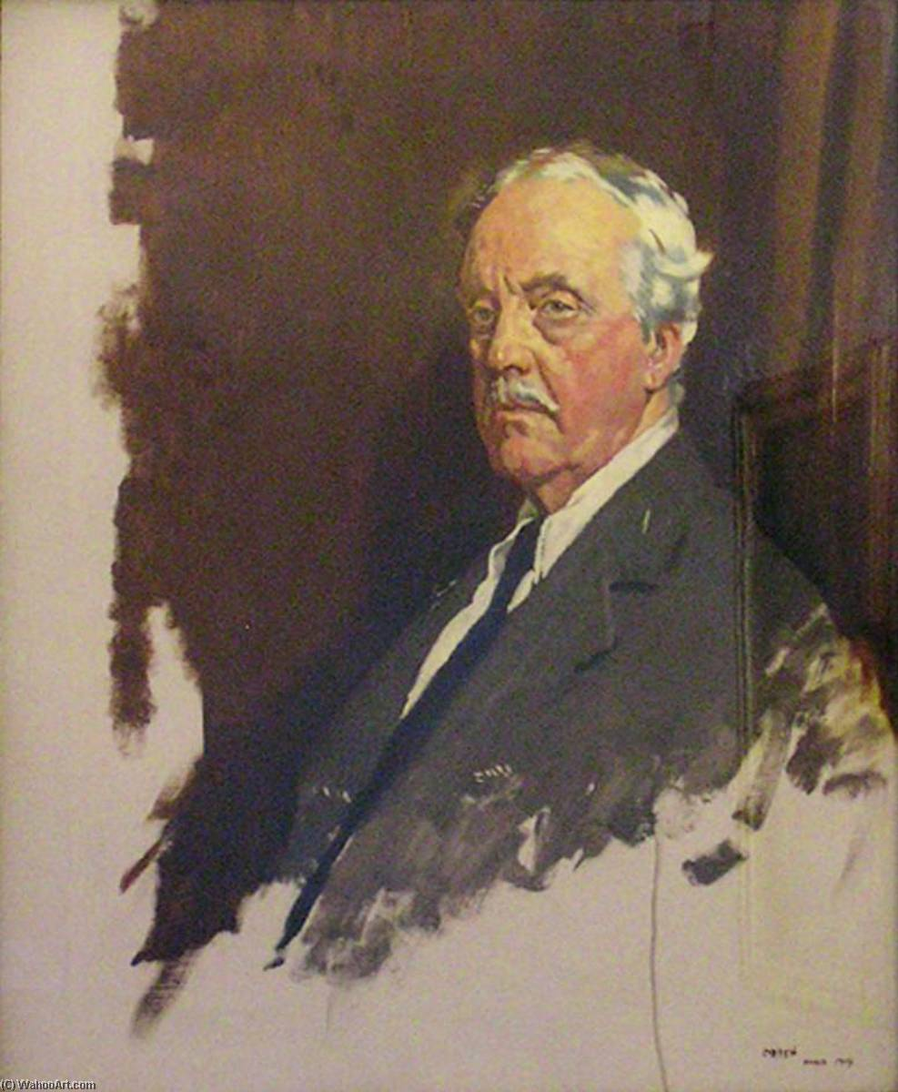 Order Painting Copy : Arthur James Balfour (1848–1930), 1st Earl of Balfour, OM, KG, PC, FBA, FRS, 1919 by William Newenham Montague Orpen (1878-1931, Ireland) | WahooArt.com