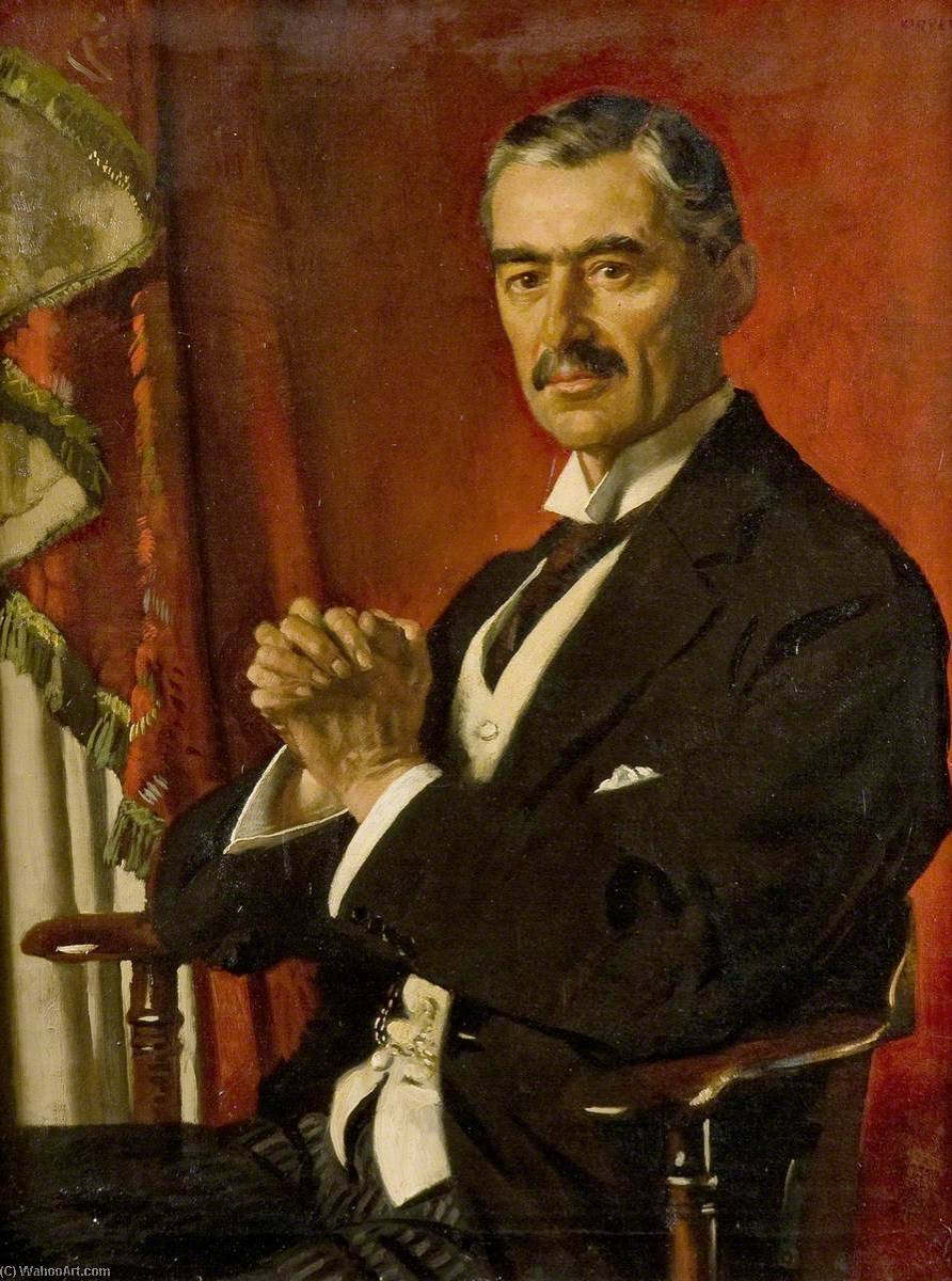 Neville Chamberlain, 1929 by William Newenham Montague Orpen (1878-1931, Ireland) | Painting Copy | WahooArt.com