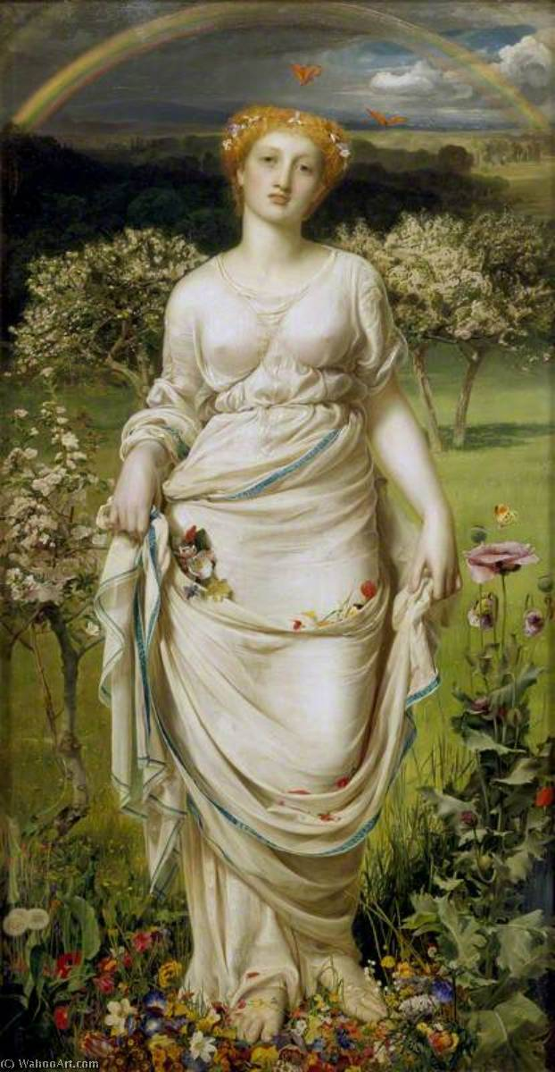 Gentle Spring, 1865 by Anthony Frederick Augustus Sandys (1829-1904, United Kingdom) | Art Reproductions Anthony Frederick Augustus Sandys | WahooArt.com