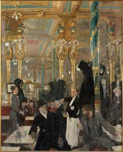 William Newenham Montague Orpen - LE CAFE ROYAL A LONDRES
