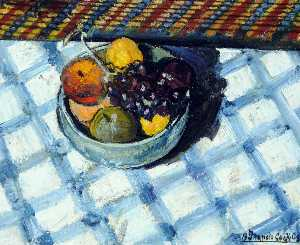 Francis Ferdinand Maurice Cook - Fruit in a Bowl on a Check Table Cover, Mont de la Rocque, St Aubin, Jersey