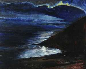 Francis Ferdinand Maurice Cook - View from My Studio at Night at Porthallow House, Talland Bay