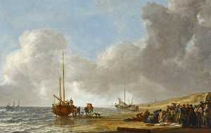 Simon Jacobsz De Vlieger - The Beach at Scheveningen