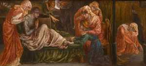 Dante Gabriel Rossetti - Dante-s Dream on the Day of the Death of Beatrice (predella, right panel)