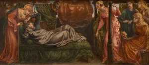 Dante Gabriel Rossetti - Dante-s Dream on the Day of the Death of Beatrice (predella, left panel)