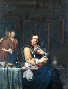 Willem Van Mieris - Interior with a Cavalier Drinking and a Couple Embracing