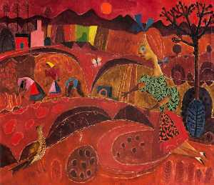 Colin Middleton - Girl and Bird in a Red Landscape