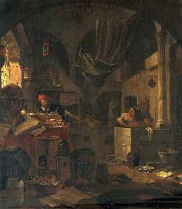 Thomas Wyck - Interior with an Alchemist Making a Gesture of Surprise, and a Female Assistant