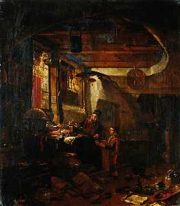 Thomas Wyck - Interior with an Alchemist Examining a Bowl Brought by a Boy