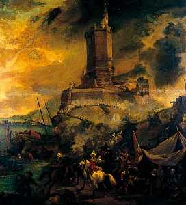 Thomas Wyck - The Wreckers, Stormy Coast Scene with Tower