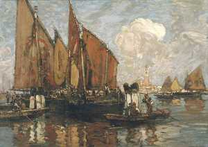 Frank William Brangwyn - Venice St Mark's from the Lagoon