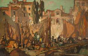 Frank William Brangwyn - Fishermen's Quarters, Venice