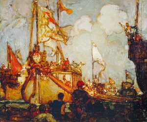 Frank William Brangwyn - The Lord Mayor's Show in Olden Days