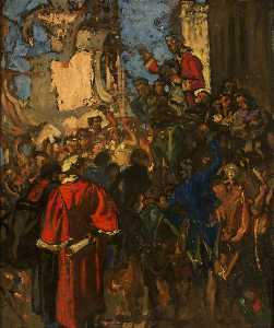 Frank William Brangwyn - The Chairing of Edmund Burke in 1774