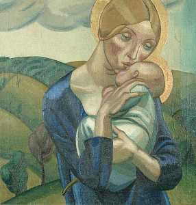 David Jones - Madonna and Child in a Landscape