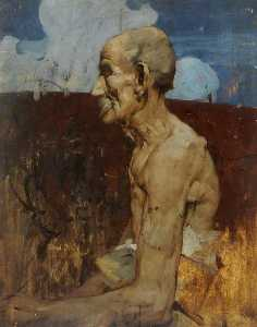 Frank William Brangwyn - Old Man at Assisi