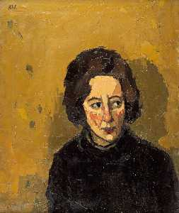 John Kyffin Williams - Portrait of a Young Woman Looking Left