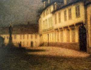 Henri Eugène Augustin Le Sidaner - A Beauvais Square by Moonlight