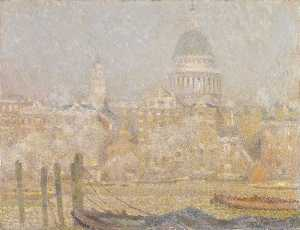 Henri Eugène Augustin Le Sidaner - St Paul's from the River Morning Sun