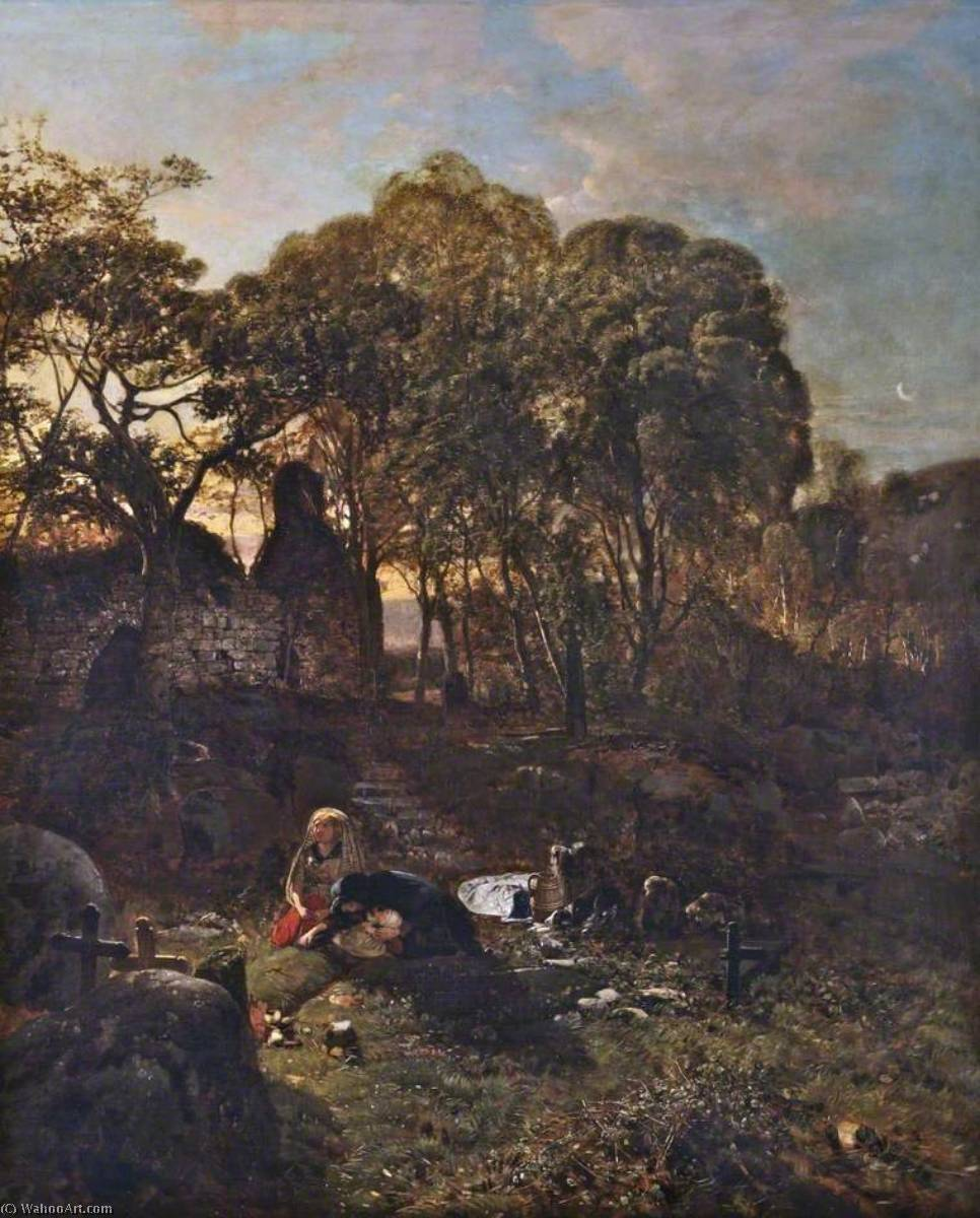 The Old Churchyard, 1846 by Henry Mark Anthony (1817-1886) | Art Reproductions Henry Mark Anthony | WahooArt.com