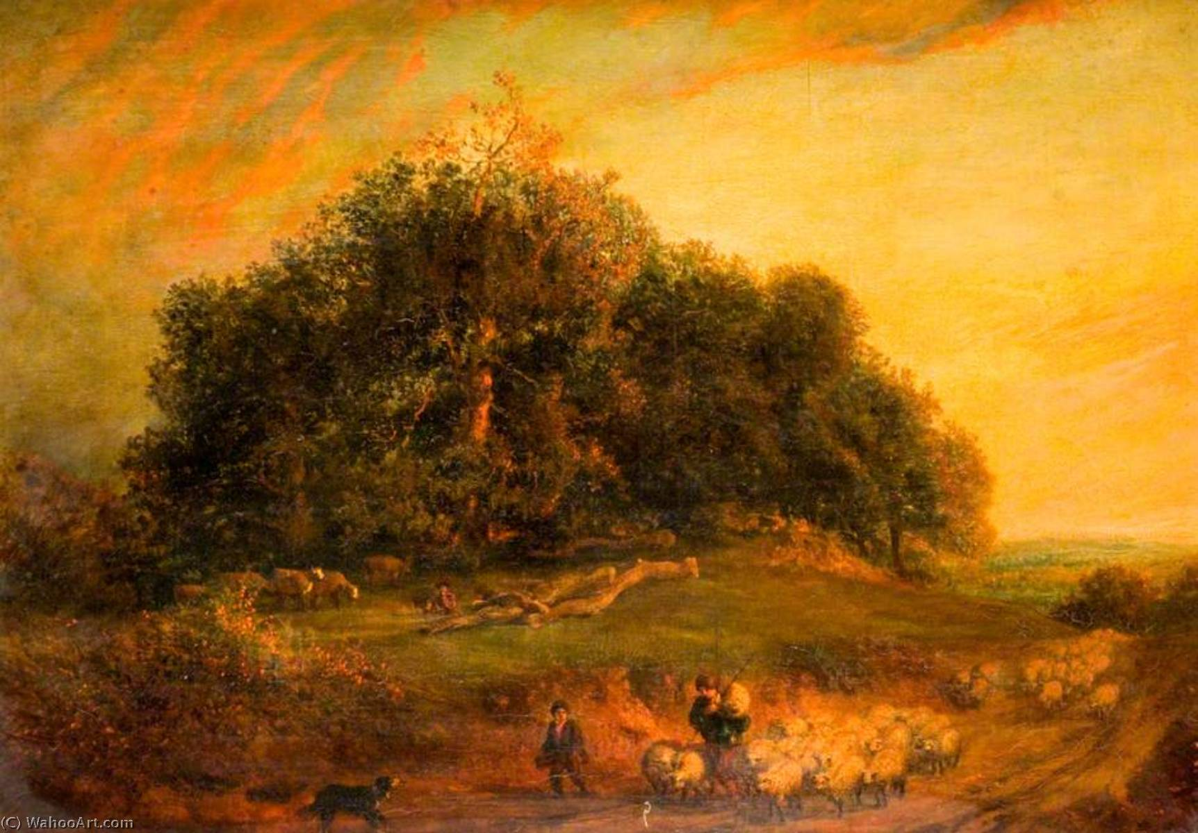 Sunset, Oil On Canvas by Henry Mark Anthony (1817-1886)