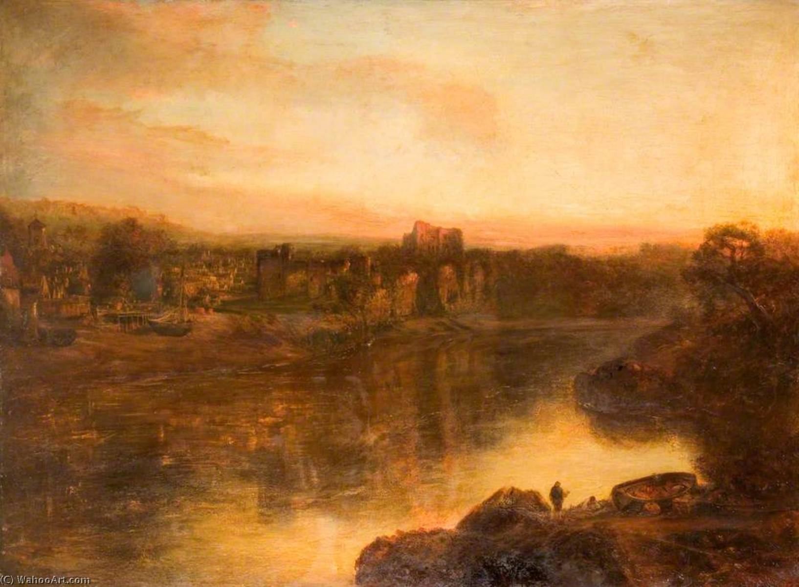 Chepstow Castle, Monmouthshire, Oil On Canvas by Henry Mark Anthony (1817-1886)