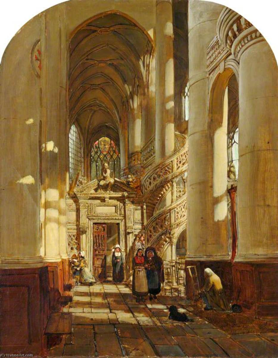 The Interior of a Church in Paris, Oil On Canvas by Henry Mark Anthony (1817-1886)