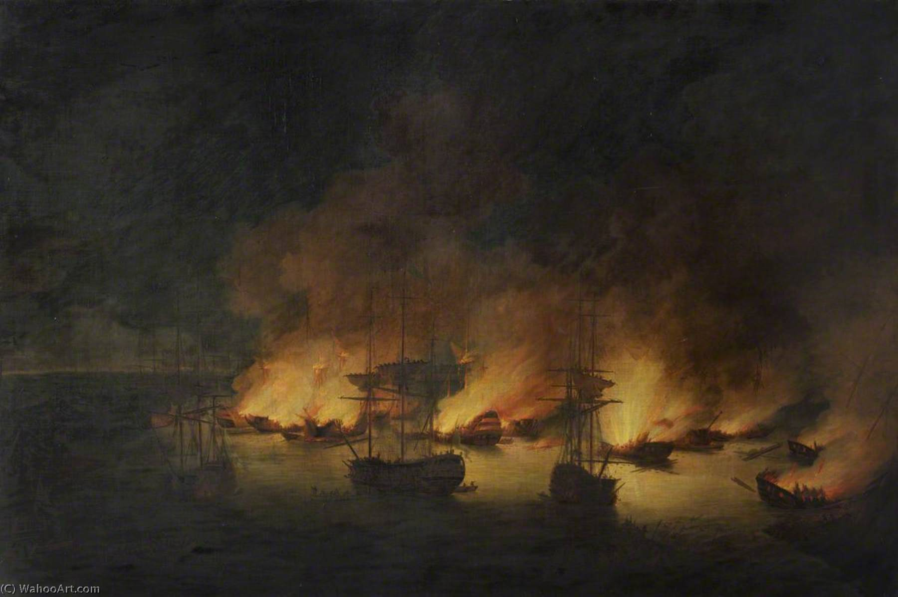 Order Paintings Reproductions | The Burning of the Turkish Fleet in Chesme Bay, 7 July 1770 by Richard Paton (1717-1791) | WahooArt.com