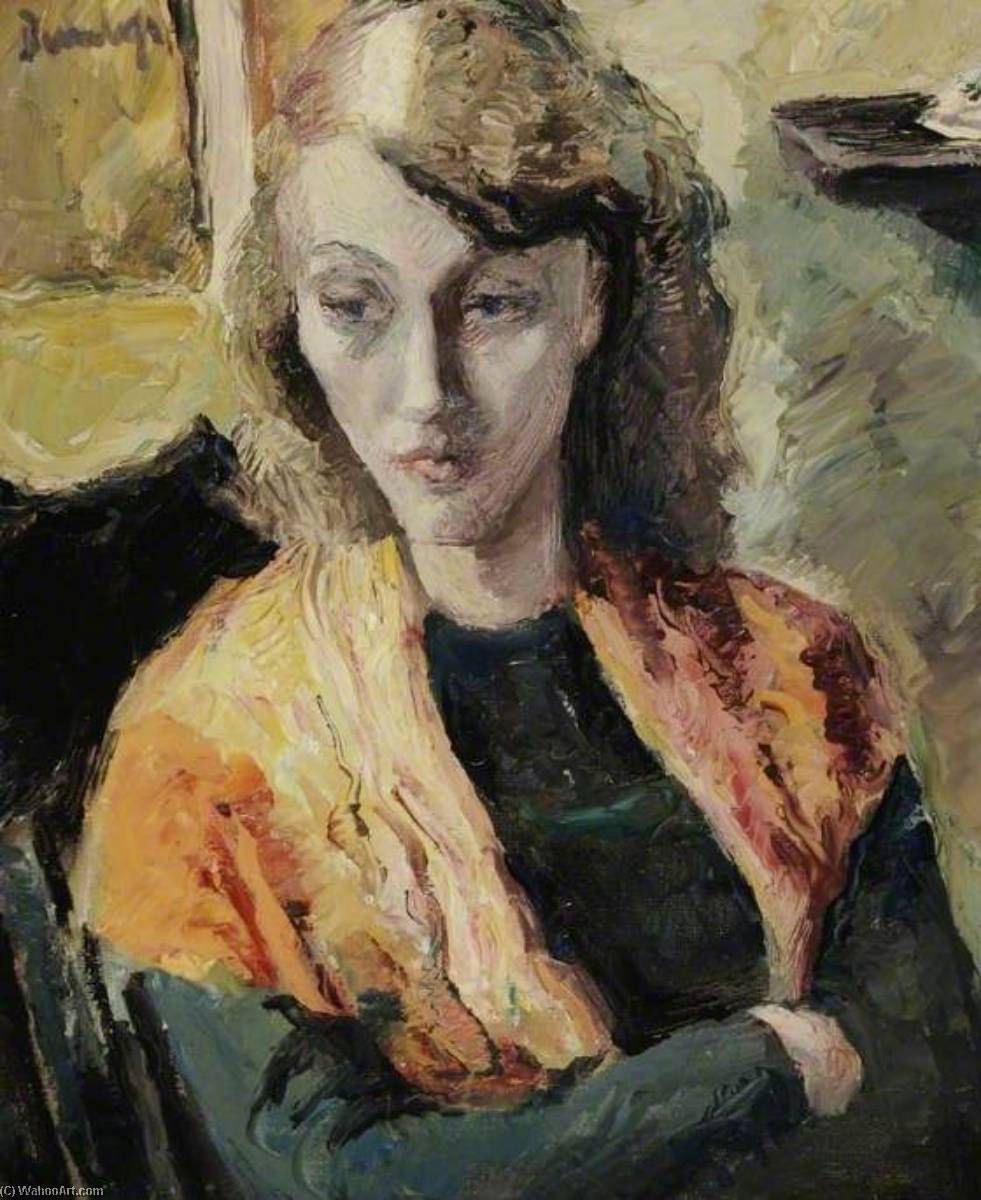 The Orange Scarf, 1934 by Ronald Ossory Dunlop (1894-1973, Ireland) | Famous Paintings Reproductions | WahooArt.com