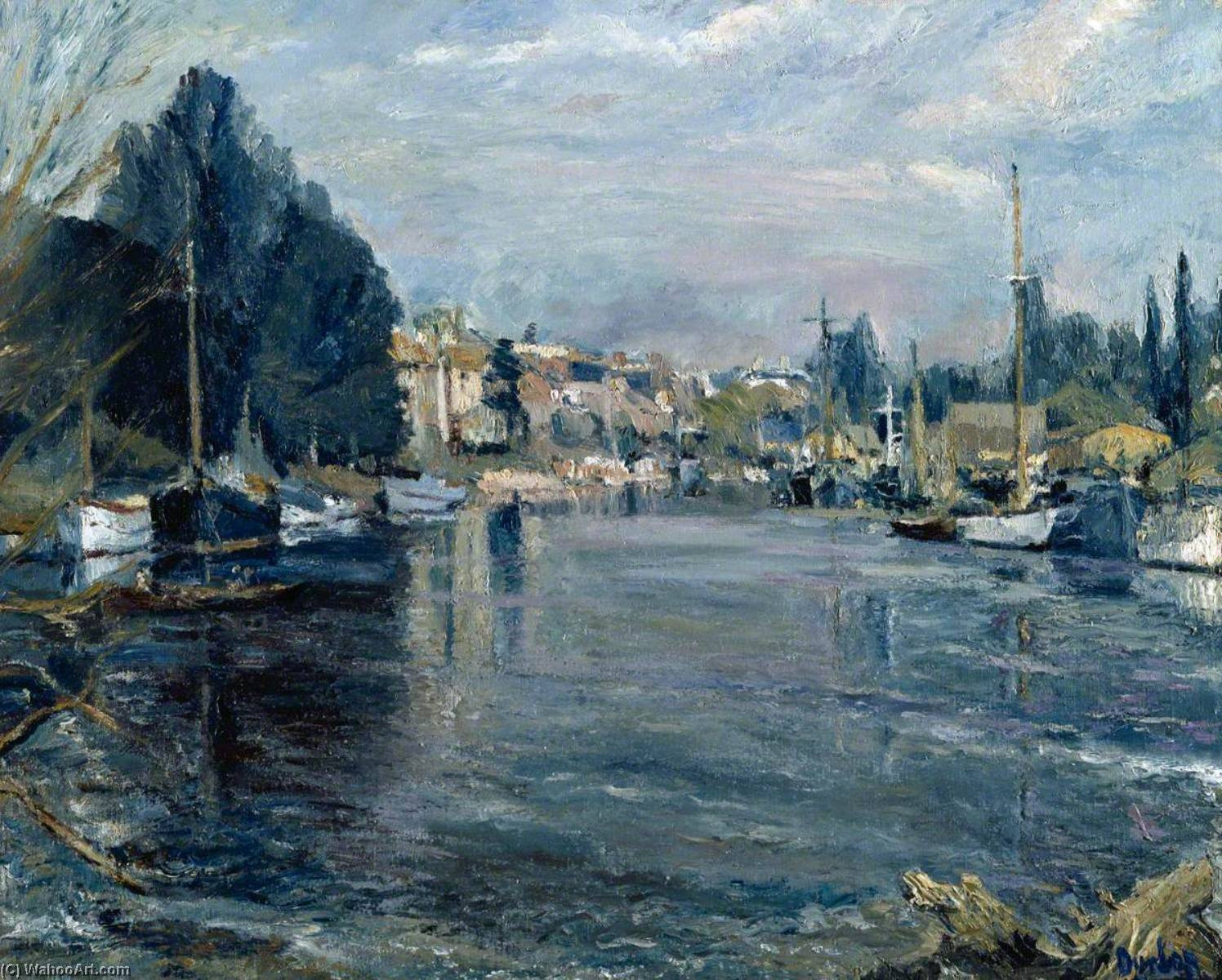 The Thames at Sunbury, 1943 by Ronald Ossory Dunlop (1894-1973, Ireland) | Painting Copy | WahooArt.com