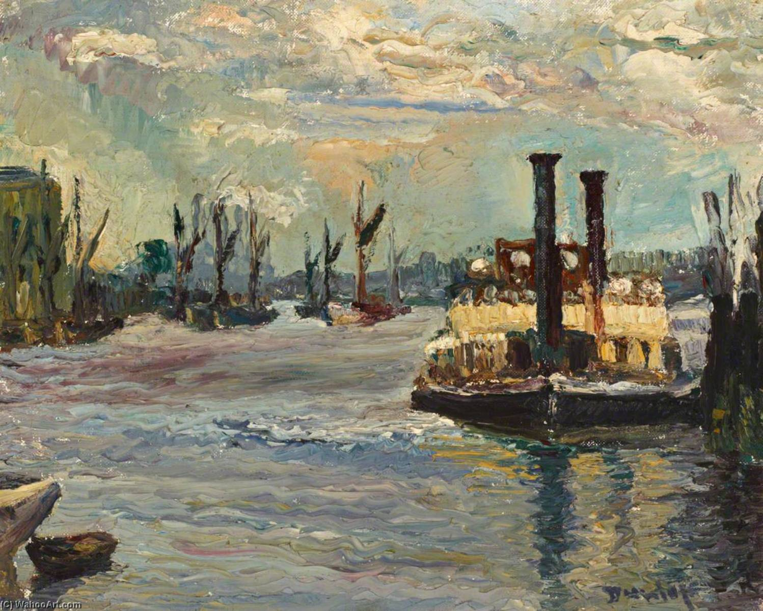 Woolwich Ferry, Oil On Canvas by Ronald Ossory Dunlop (1894-1973, Ireland)