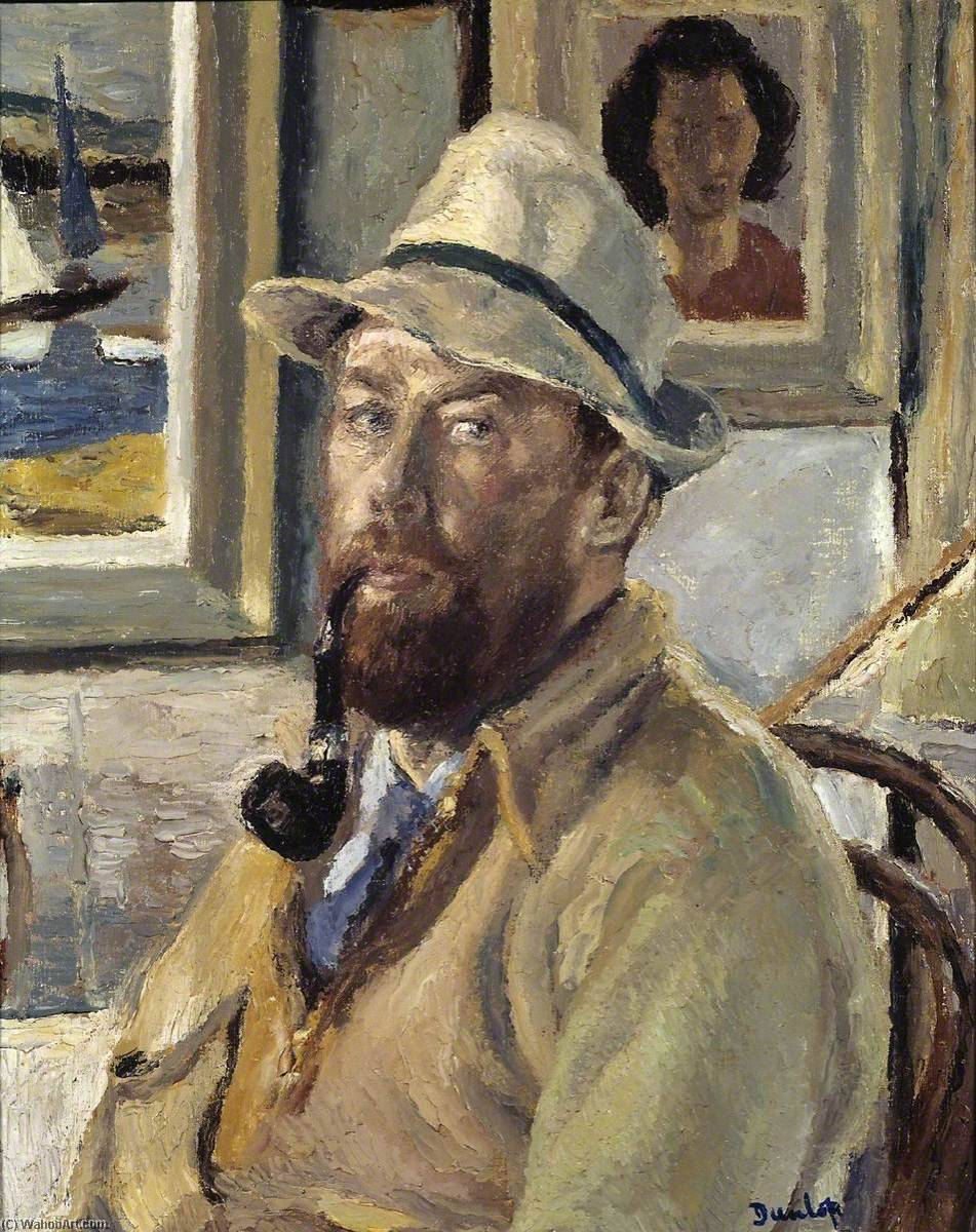 Myself with Cadger's Pipe, Oil On Canvas by Ronald Ossory Dunlop (1894-1973, Ireland)