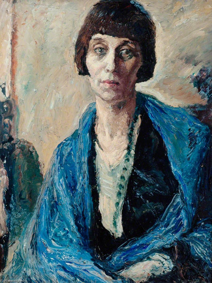 The Blue Wrap, 1930 by Ronald Ossory Dunlop (1894-1973, Ireland) | Art Reproduction | WahooArt.com