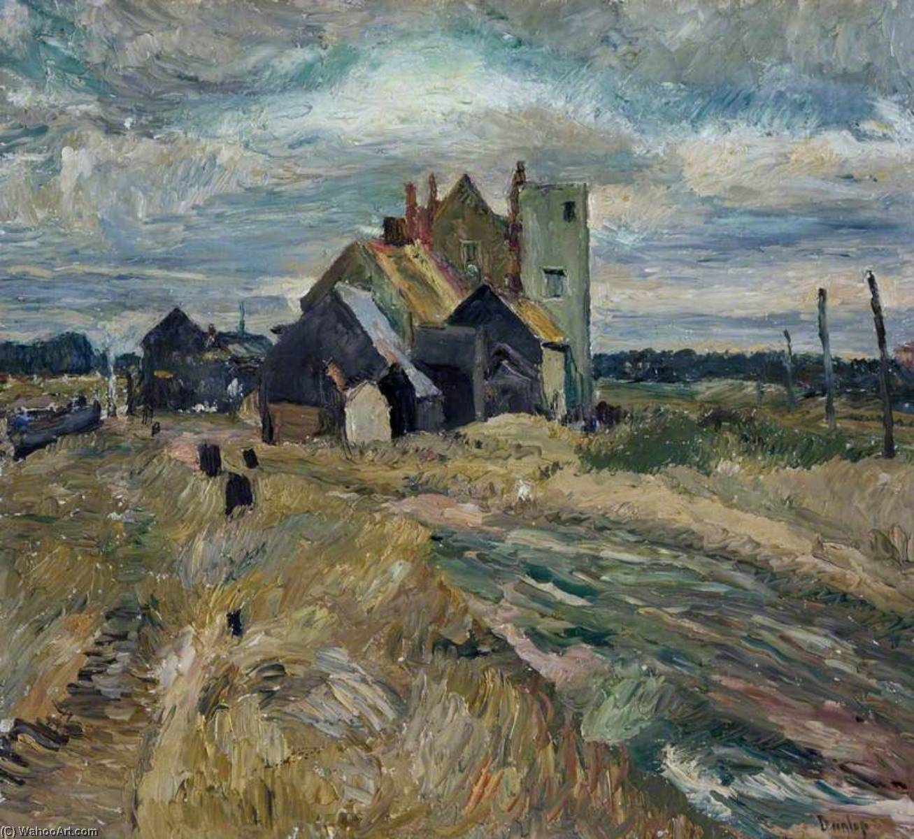 Buildings at Walberswick, Oil On Canvas by Ronald Ossory Dunlop (1894-1973, Ireland)